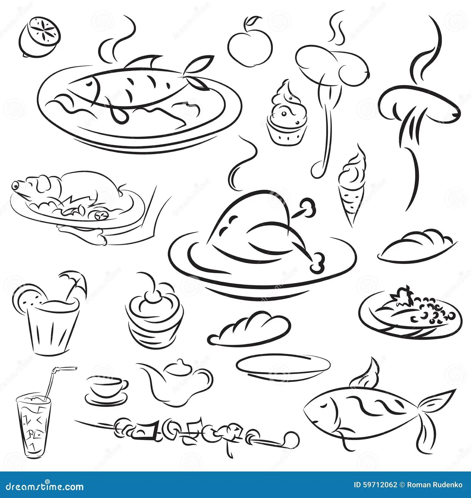 Food And Drink Sketch Icon Set Cartoon Vector