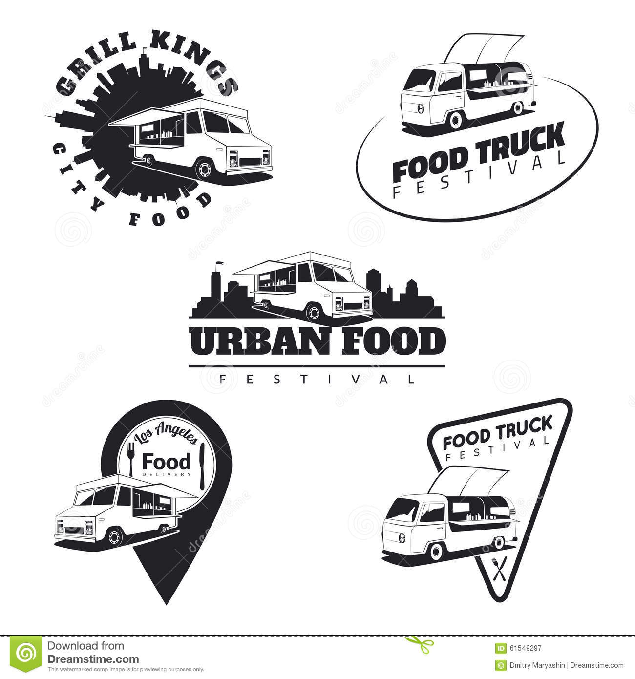Set Of Food Truck Emblems Icons And Badges Urban Street
