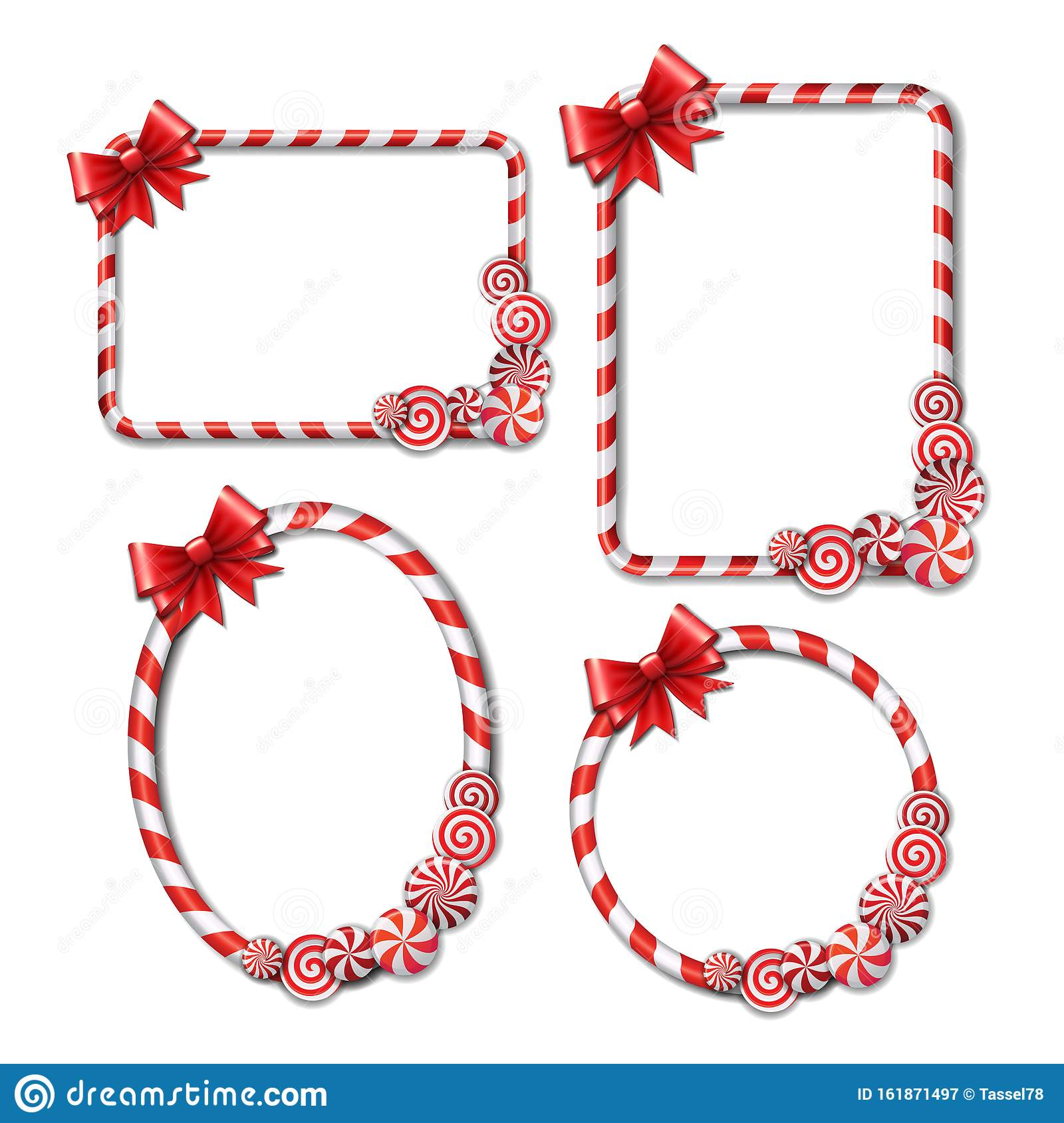 Set Of Frames Made Of Candy Cane With Red And White