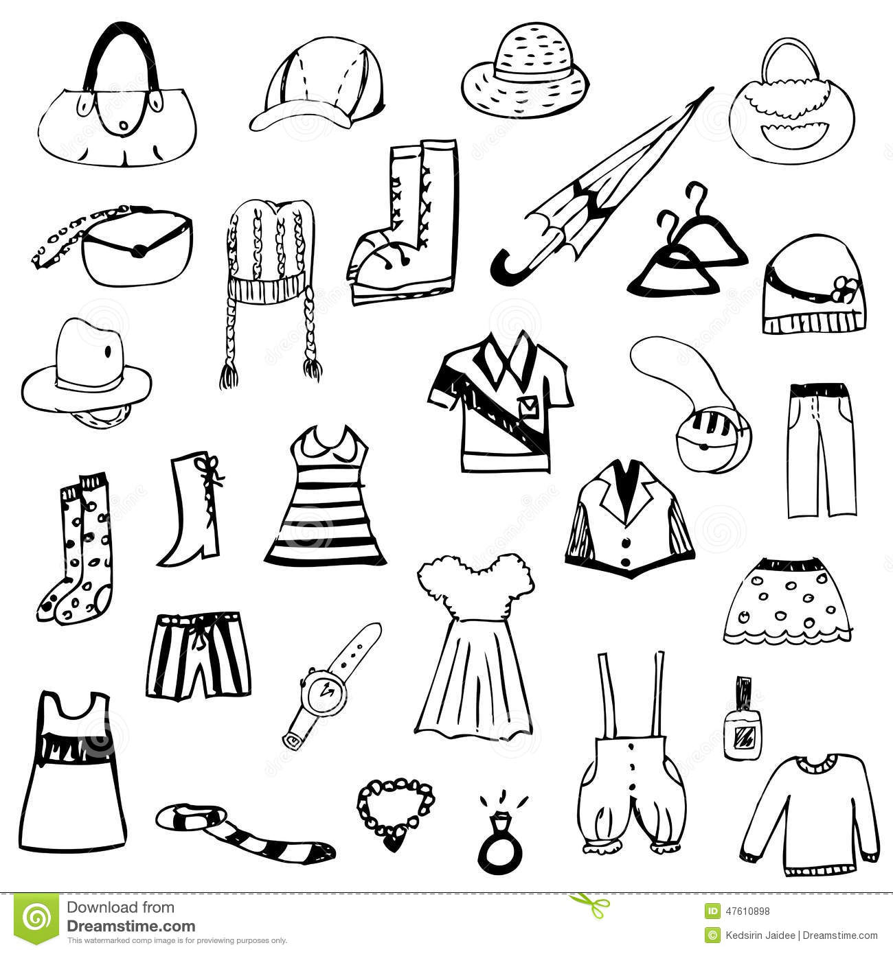 Set Of Free Hand Drawing Clothes Sketch Vector Stock