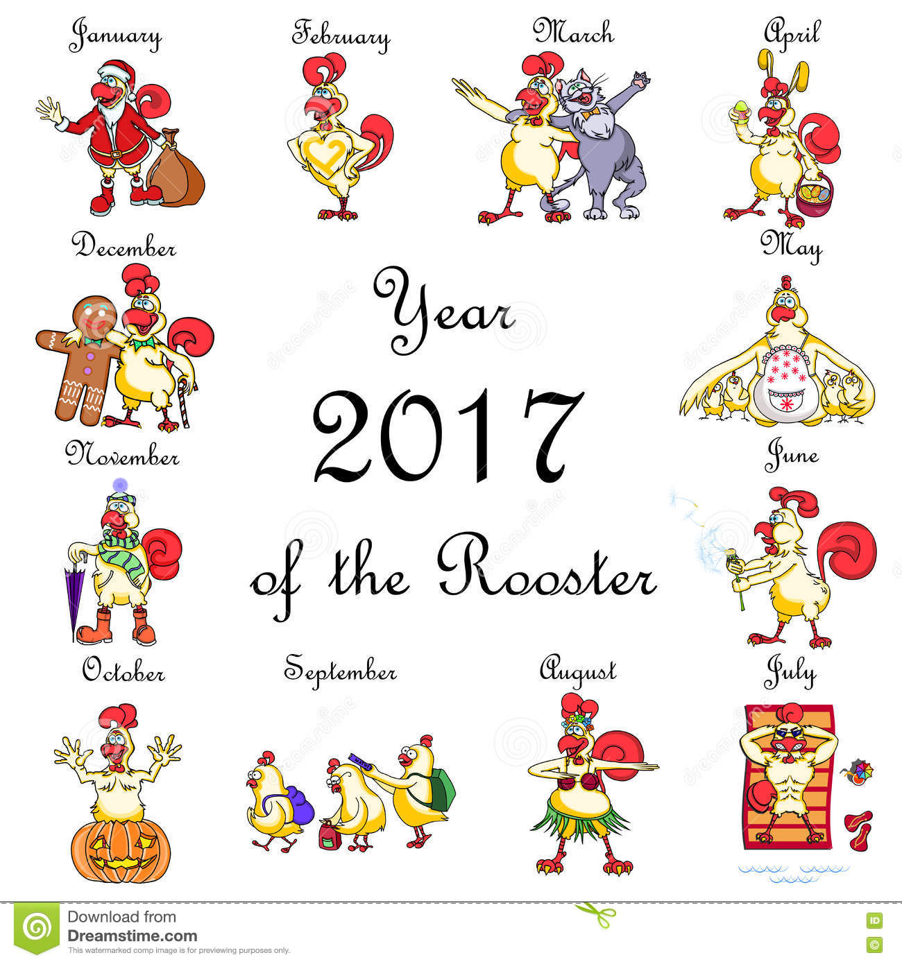 Set Of Funny Cartoon Rooster For Each Month Of The