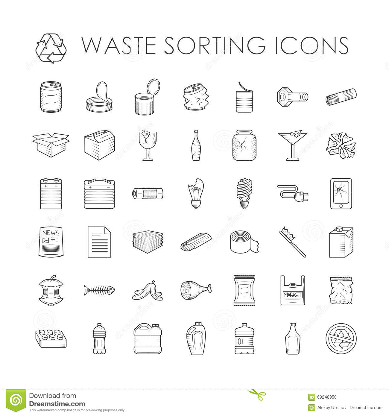 Set Of Garbage Separation Recycling Related Waste Sorting