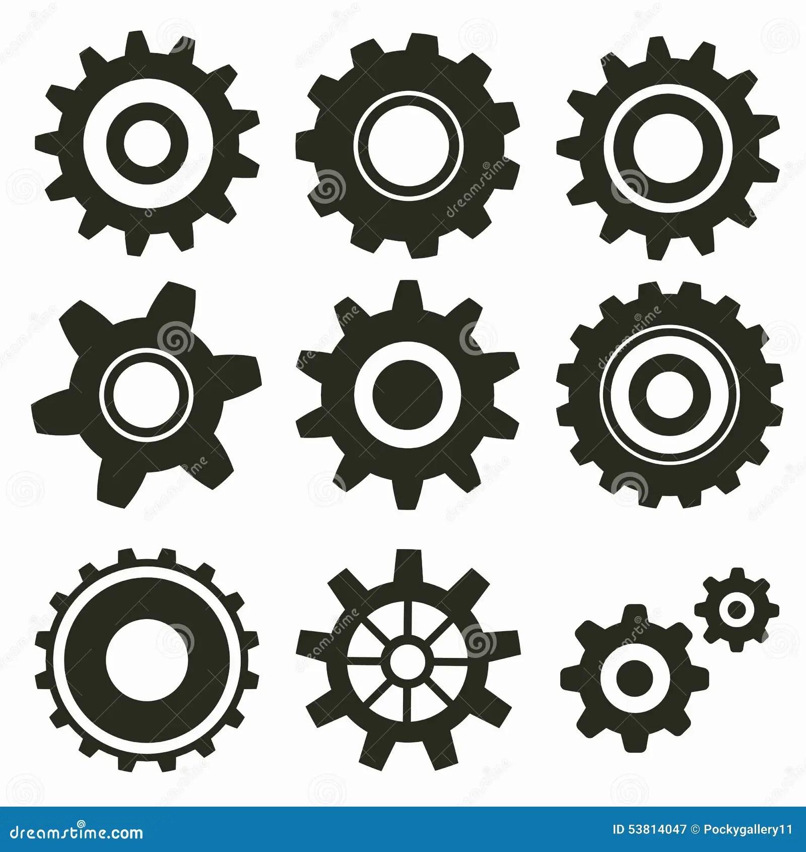 Clock Gear Icon Cartoon Vector