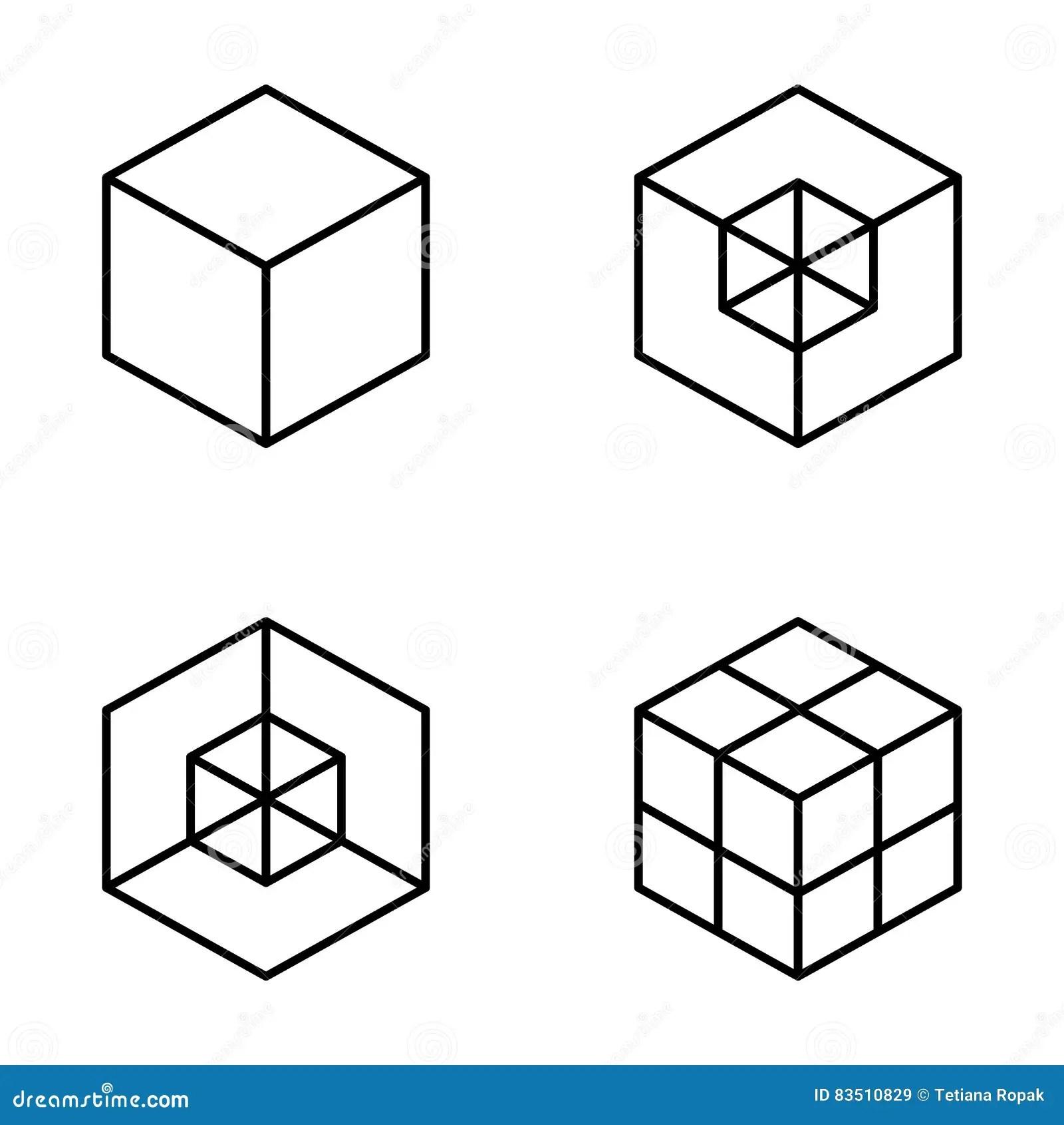 Set Of Geometric Cube Fashion Graphic Designctor