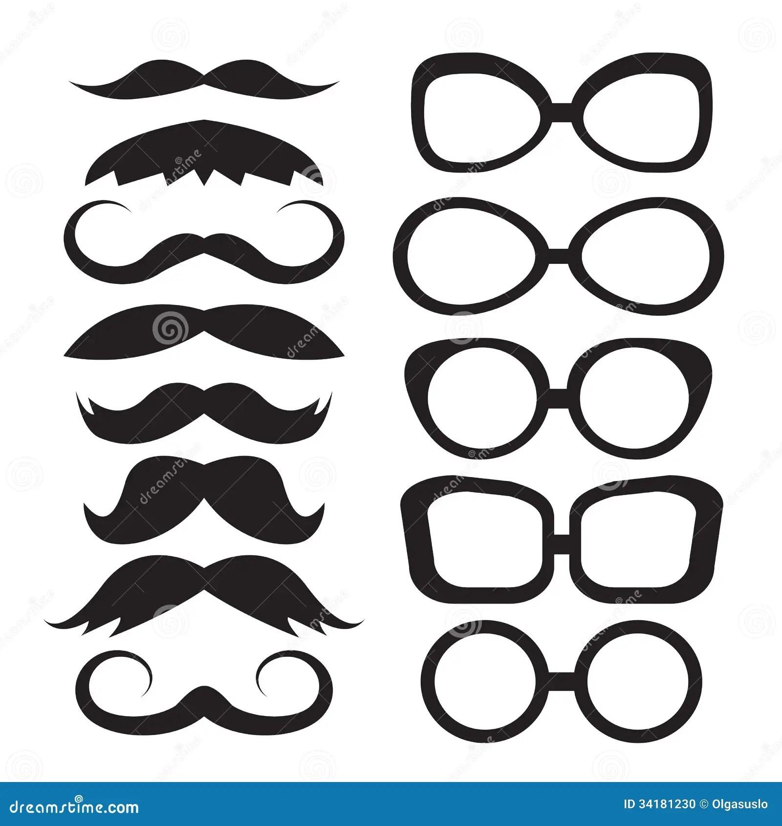 Set Glasses And Mustache Stock Photo