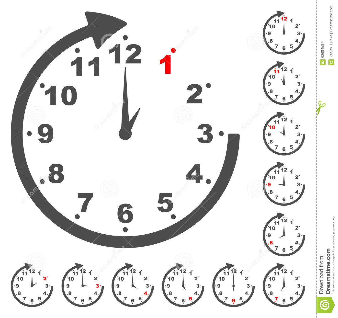 Set Gray Clock Icons For Every Time Stock Vector