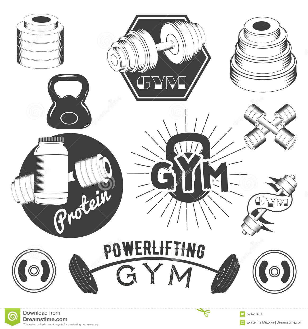 Fitness And Gym Club Badges Vector Illustration