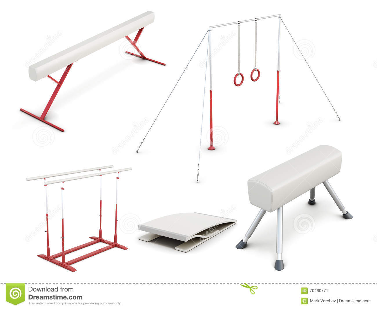 Set Of Gymnastic Equipment On White Background 3d Rend