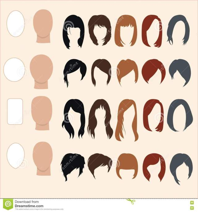 set of hairstyles for different face shapes stock vector