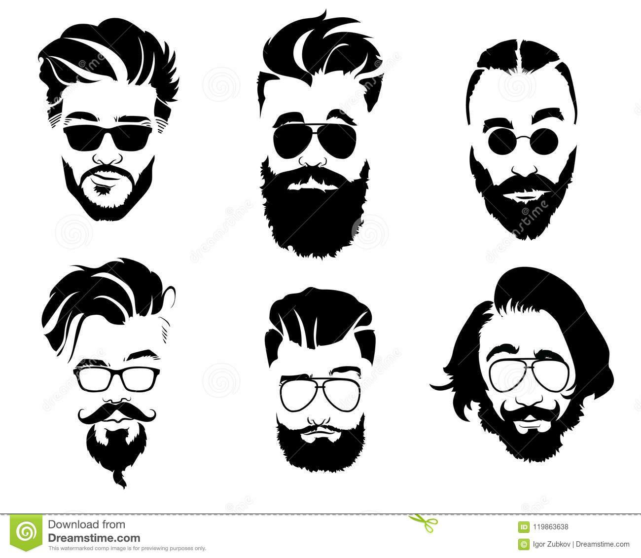 Set Of Hairstyles For Men In Glasses Collection Of Black