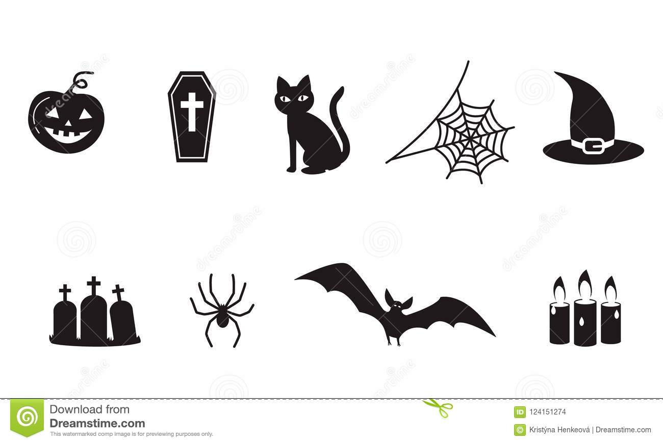 Set Of Halloween Icon Symbols Spider Web Spooky Vampire