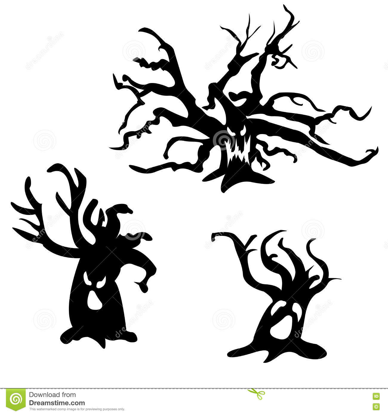 Set Of Halloween Scary Trees Vector Illustration Ghost
