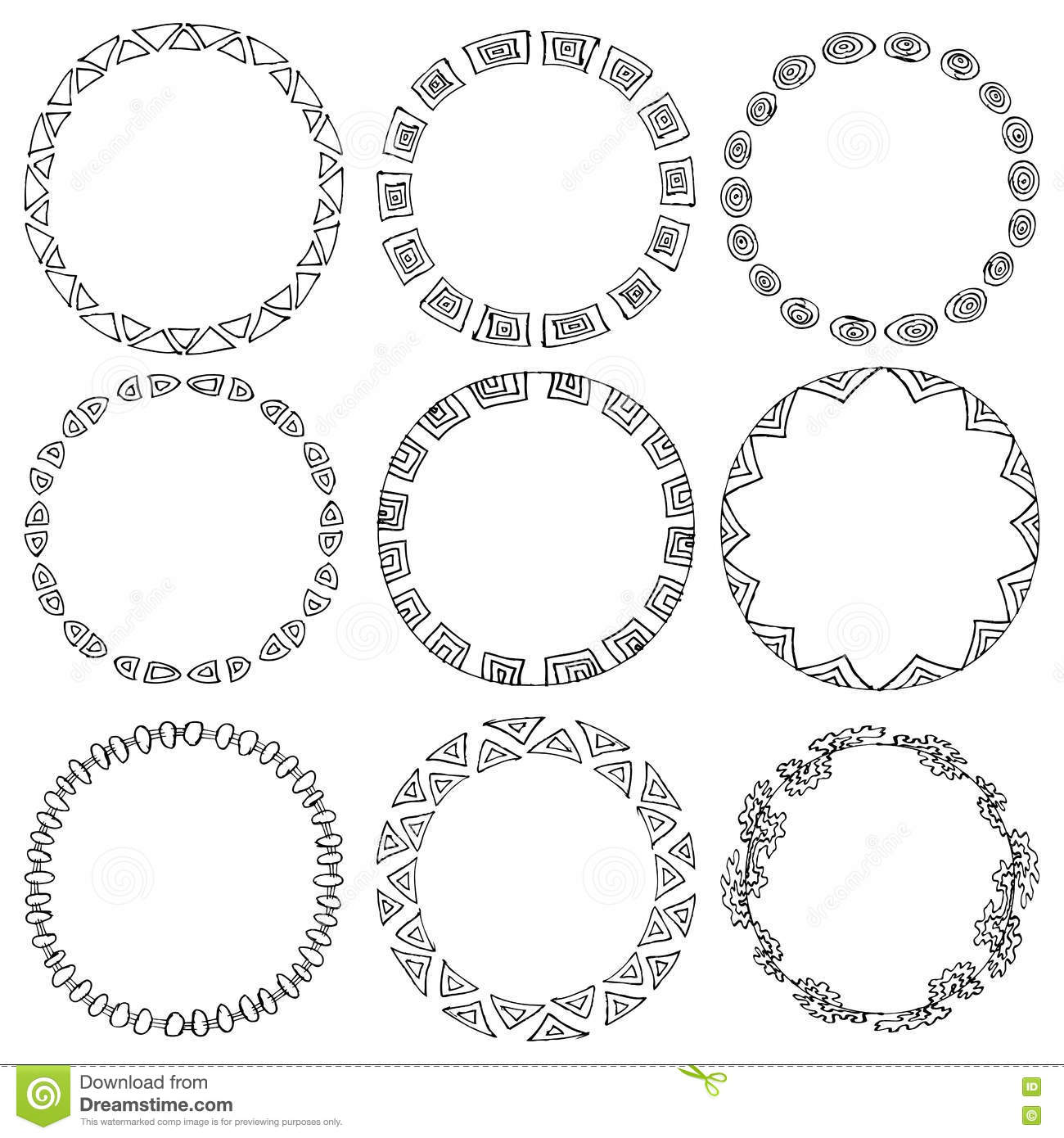 Set Of 9 Hand Draw Vector Victory Laurel Wreaths For
