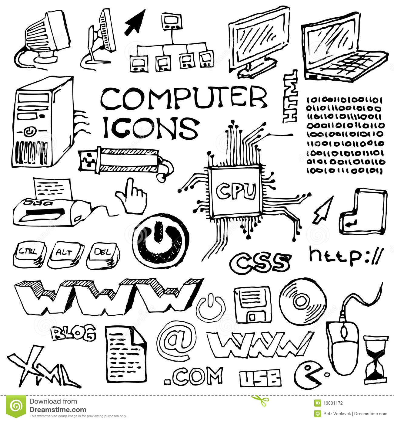 Set Of Hand Drawn Computer Icons Stock Photography