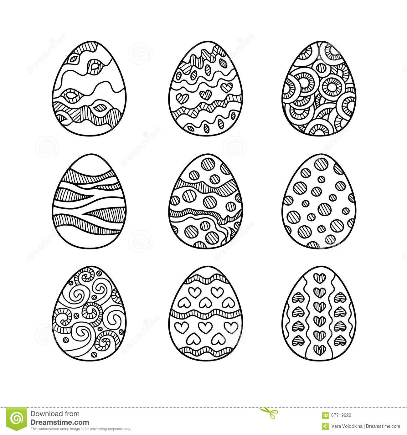 Doodle Of Easter Egg Colorful Collection Cartoon Vector