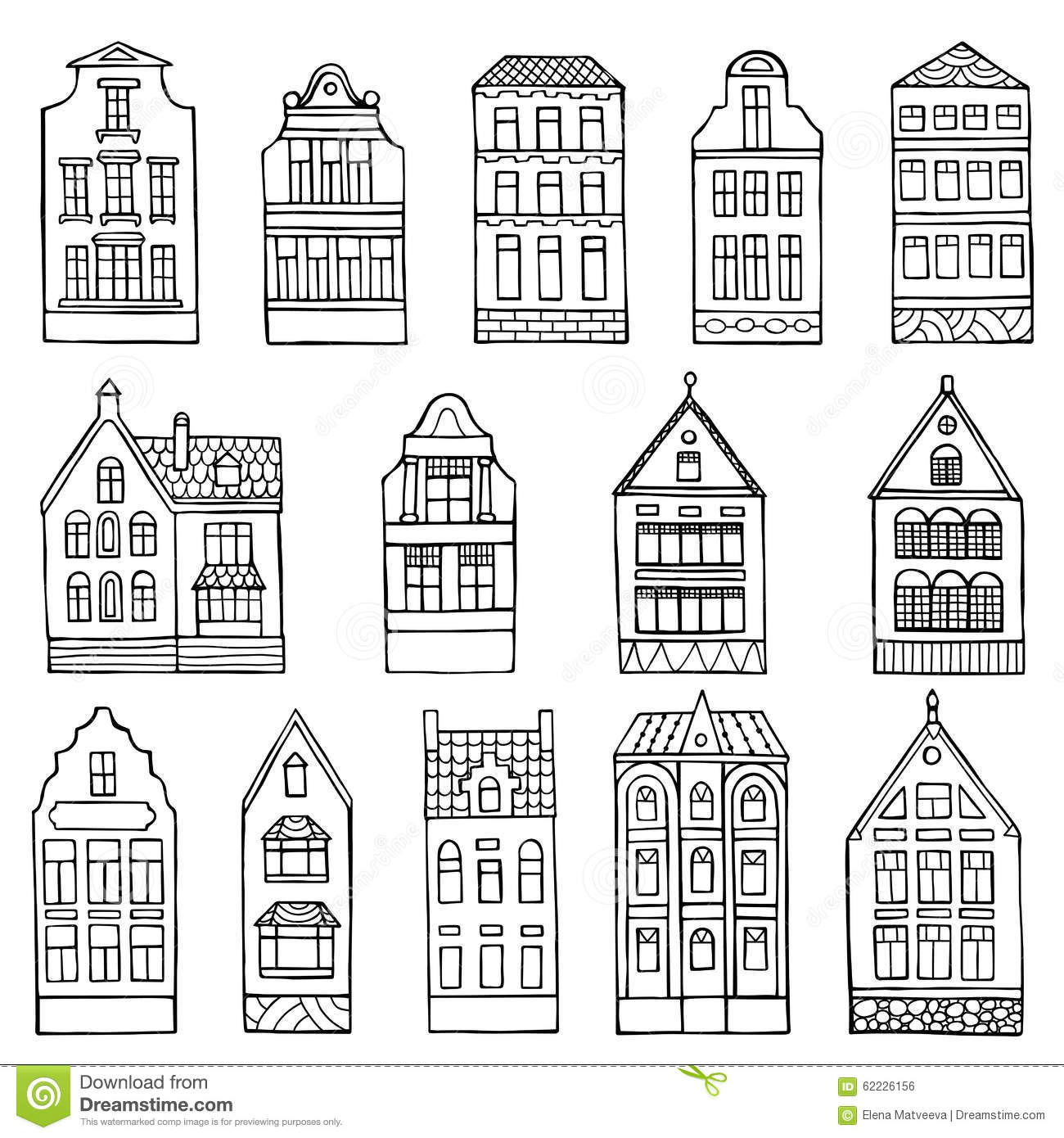 Set Of Hand Drawn Doodle Houses Stock Vector
