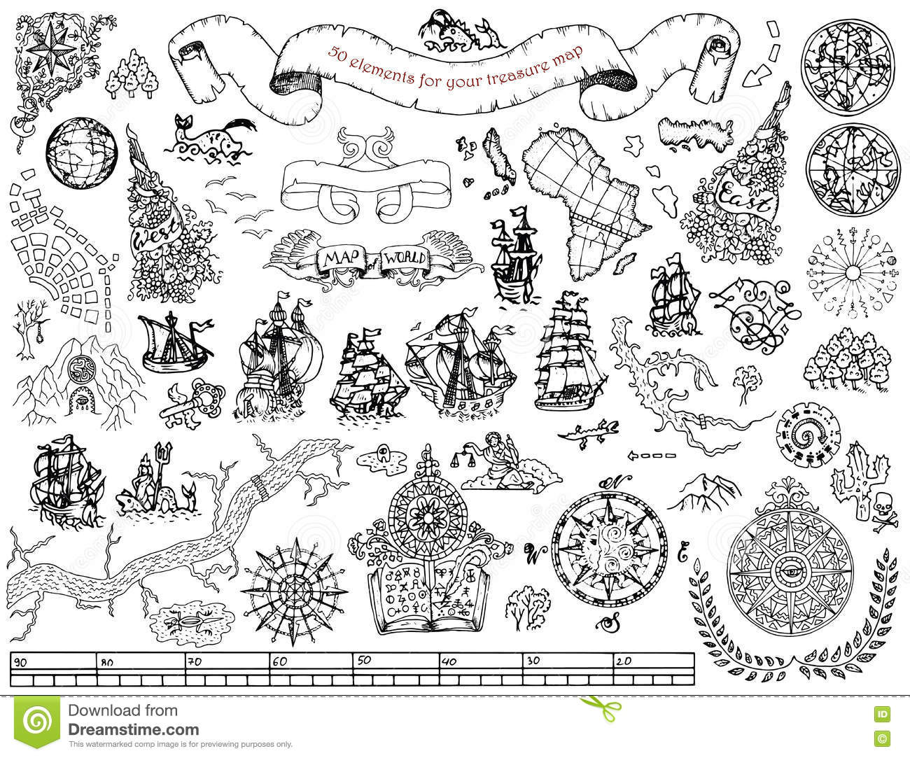 Set With Hand Drawn Elements For Treasure Hunt And Pirate