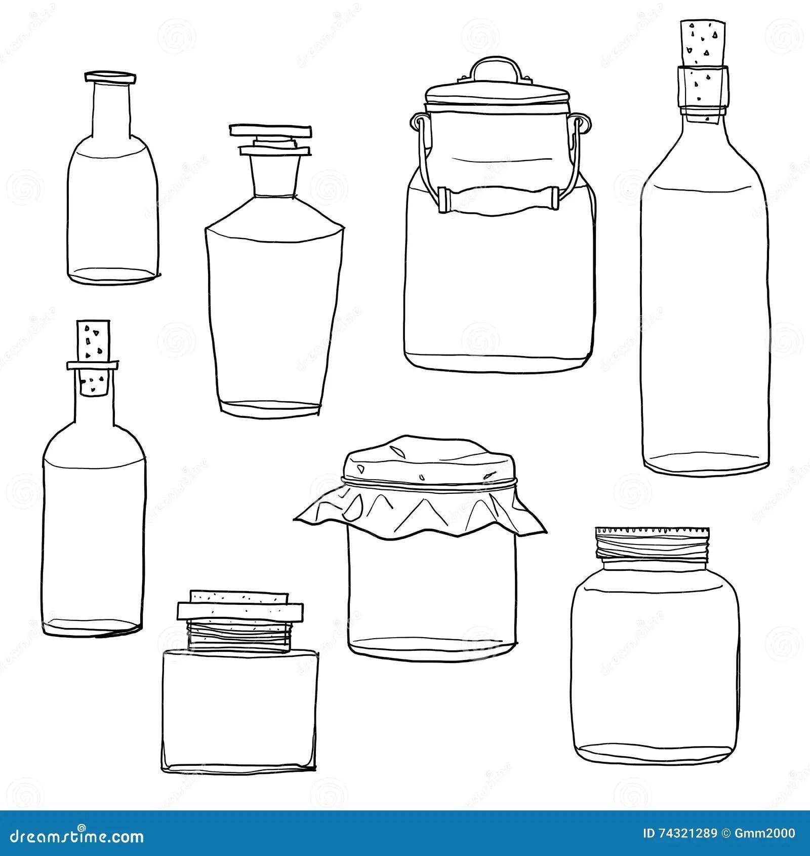 Set Of Empty Jars Cartoon Vector