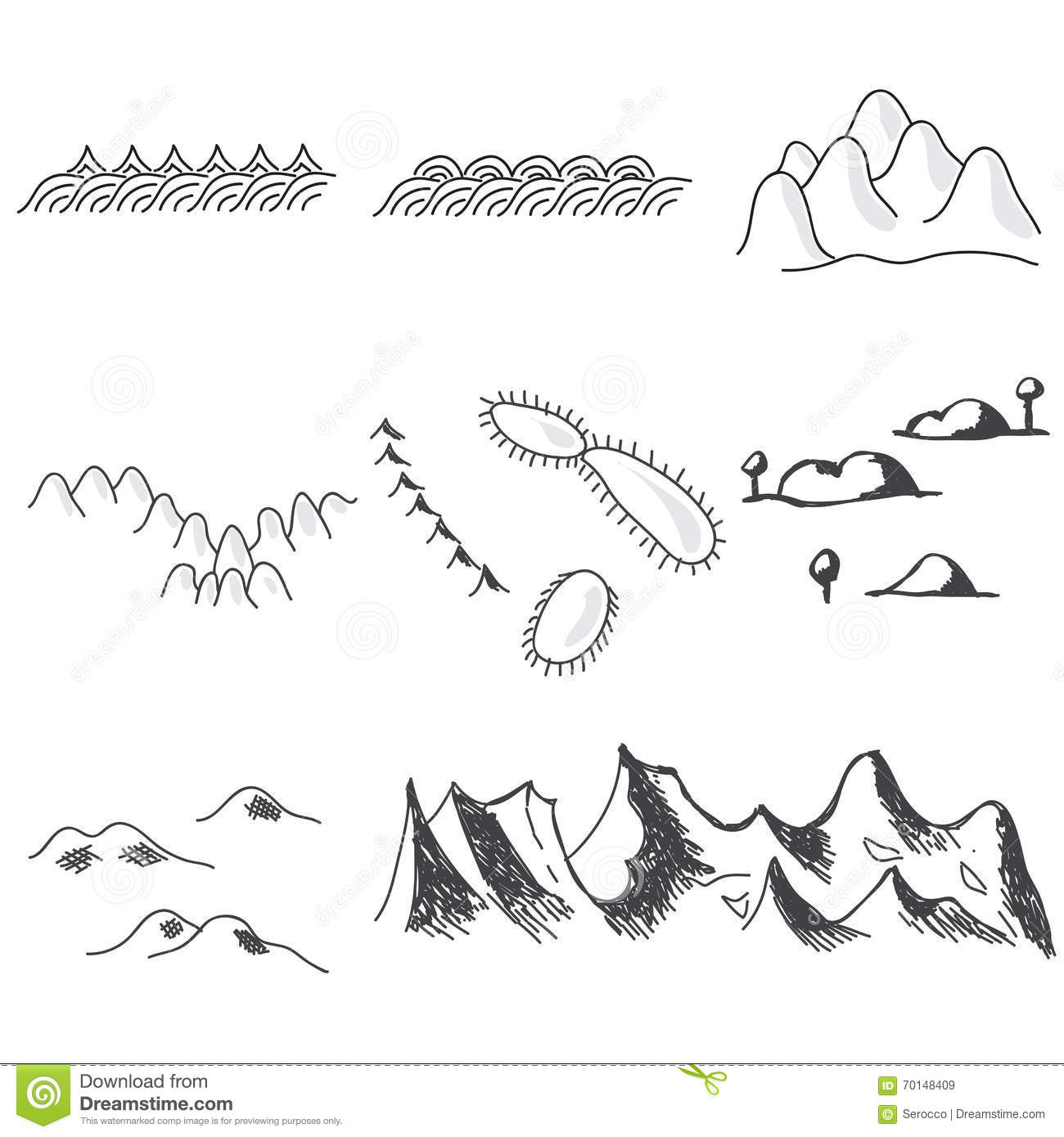 Set Of Hand Drawn Mountains Symbols In Map Stock Vector