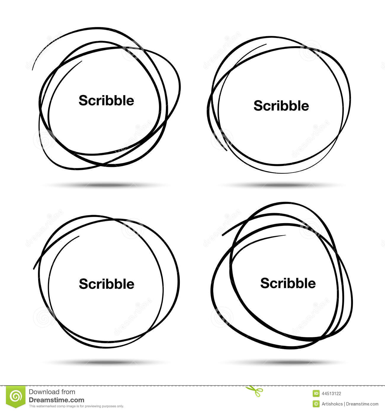 Set Of Hand Drawn Scribble Circles Stock Vector