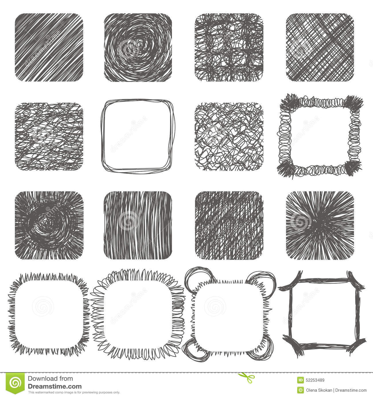 Set Of Hand Drawn Scribble Shapes Vector Design Elements