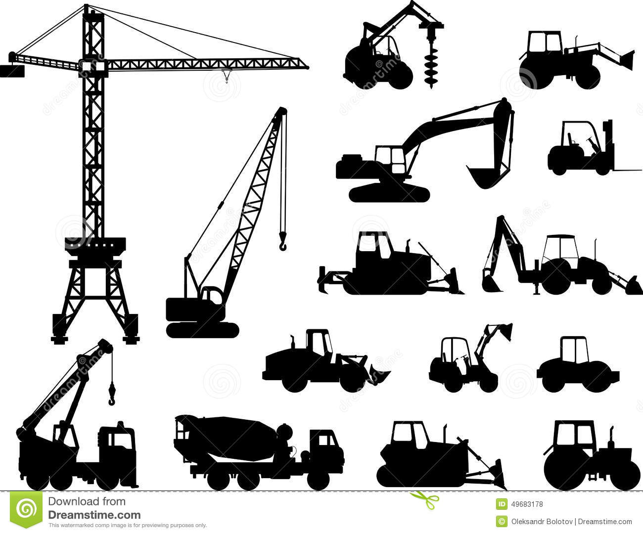 Set Of Heavy Construction Machines Icons Vector Stock
