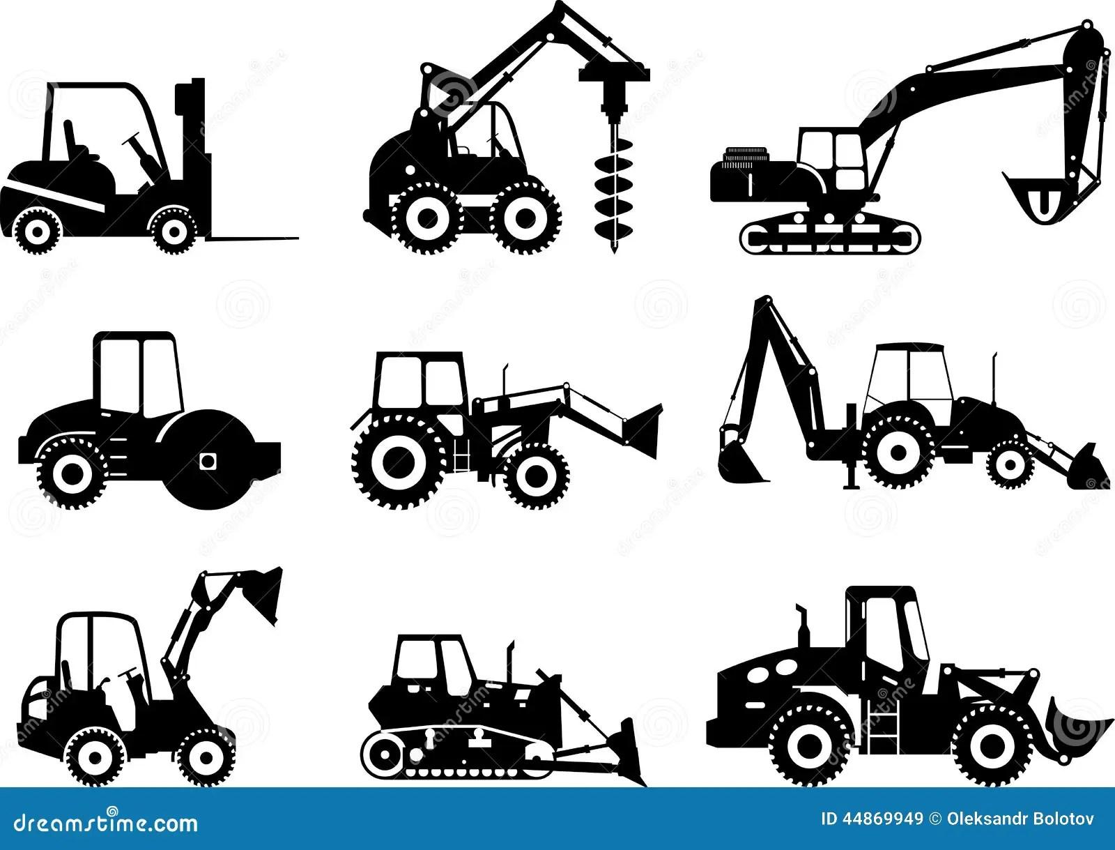 Set Of Heavy Construction Machines Vector Illustration