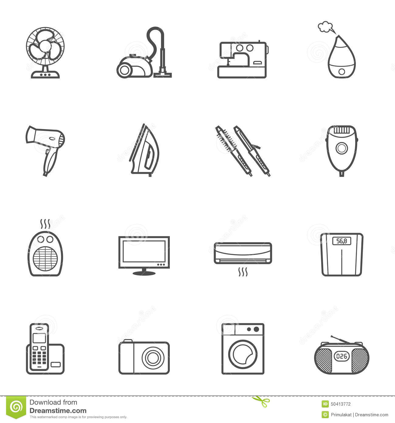 Set Of Home Appliances And Electronics Icons Stock Vector