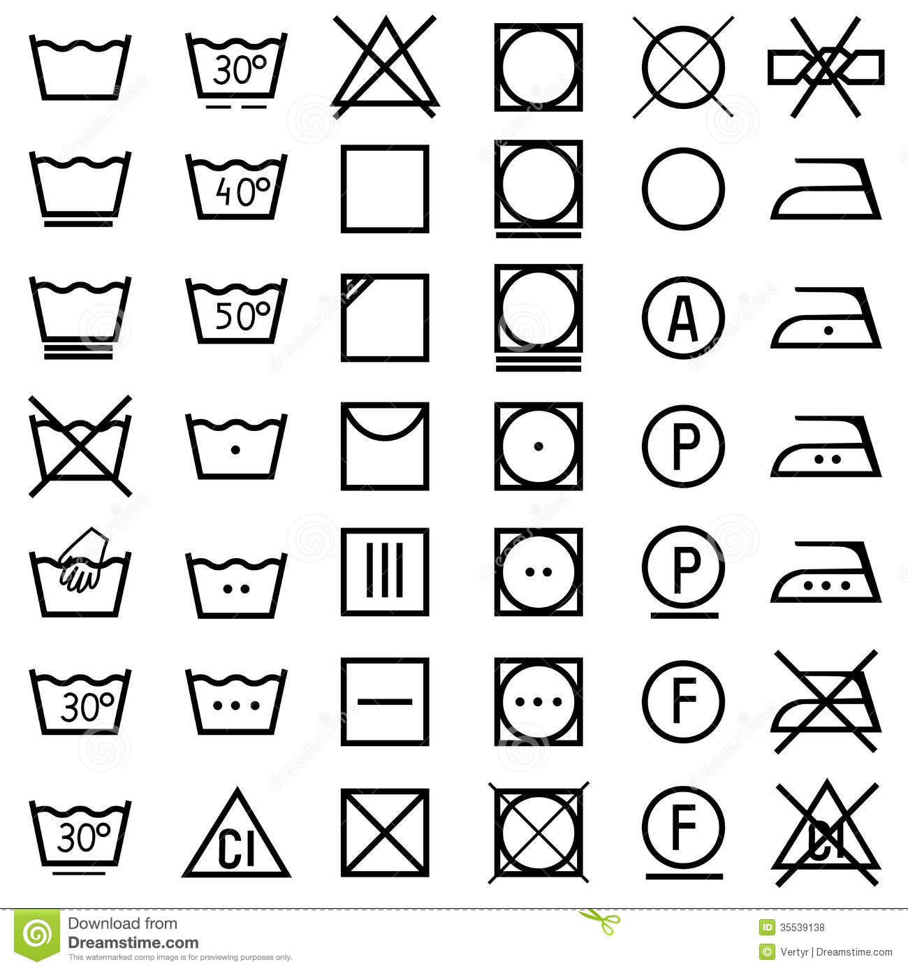 Set Of Icons On Clothing Label Stock Vector
