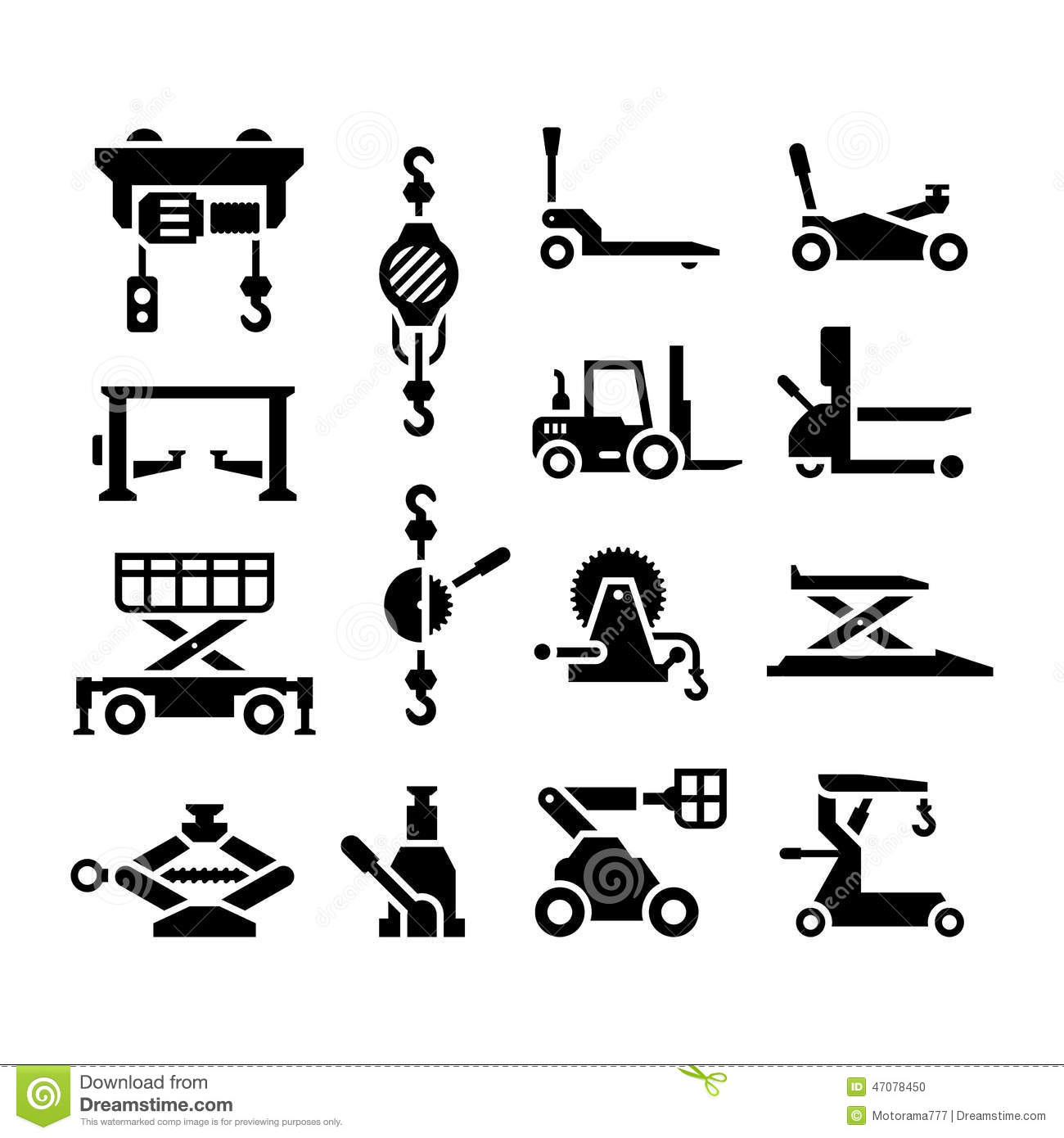 Set Icons Of Lifting Equipment Stock Vector