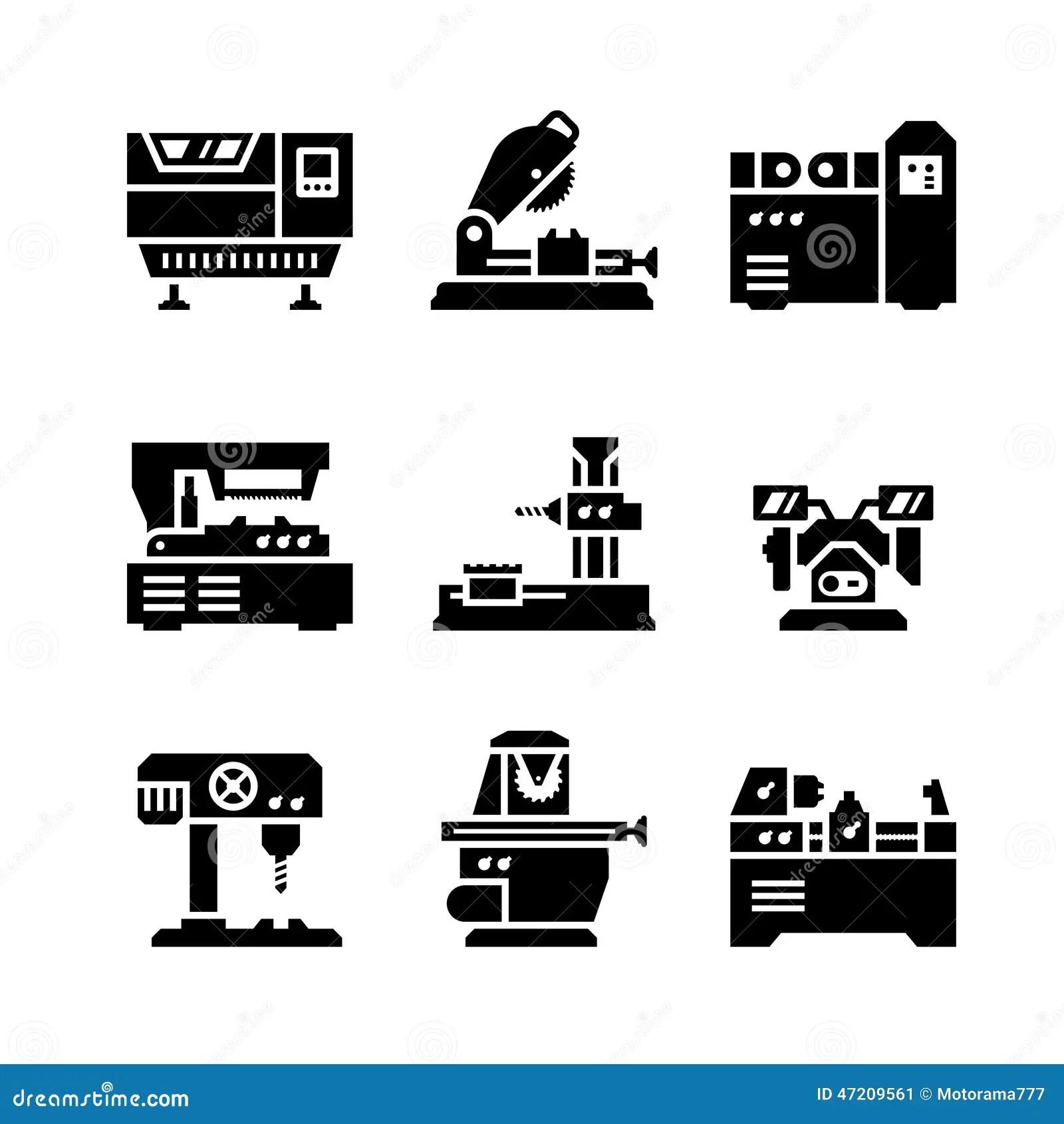 Set Icons Of Machine Tool Stock Vector