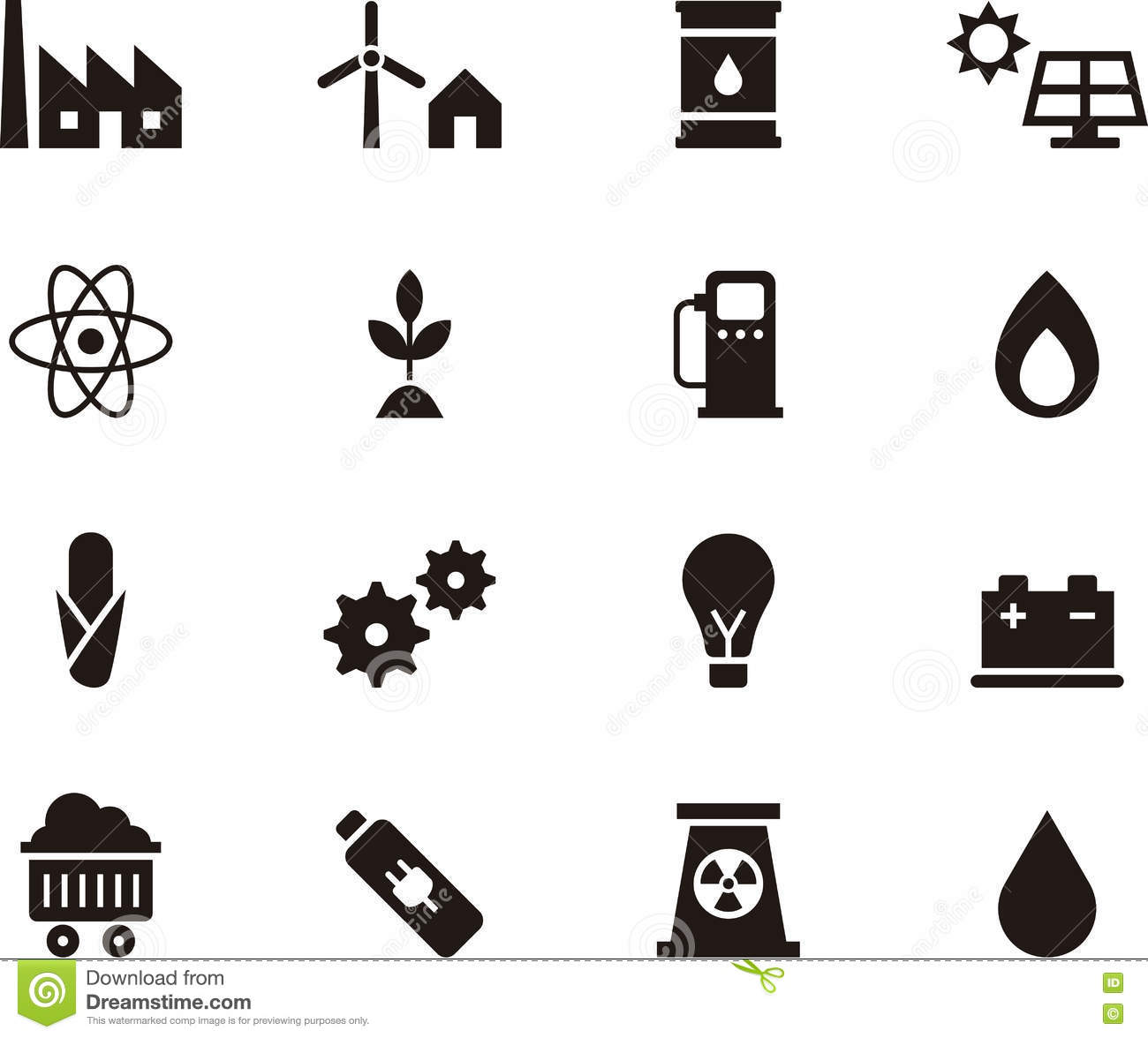 Biomass Energy Icons Cartoon Vector