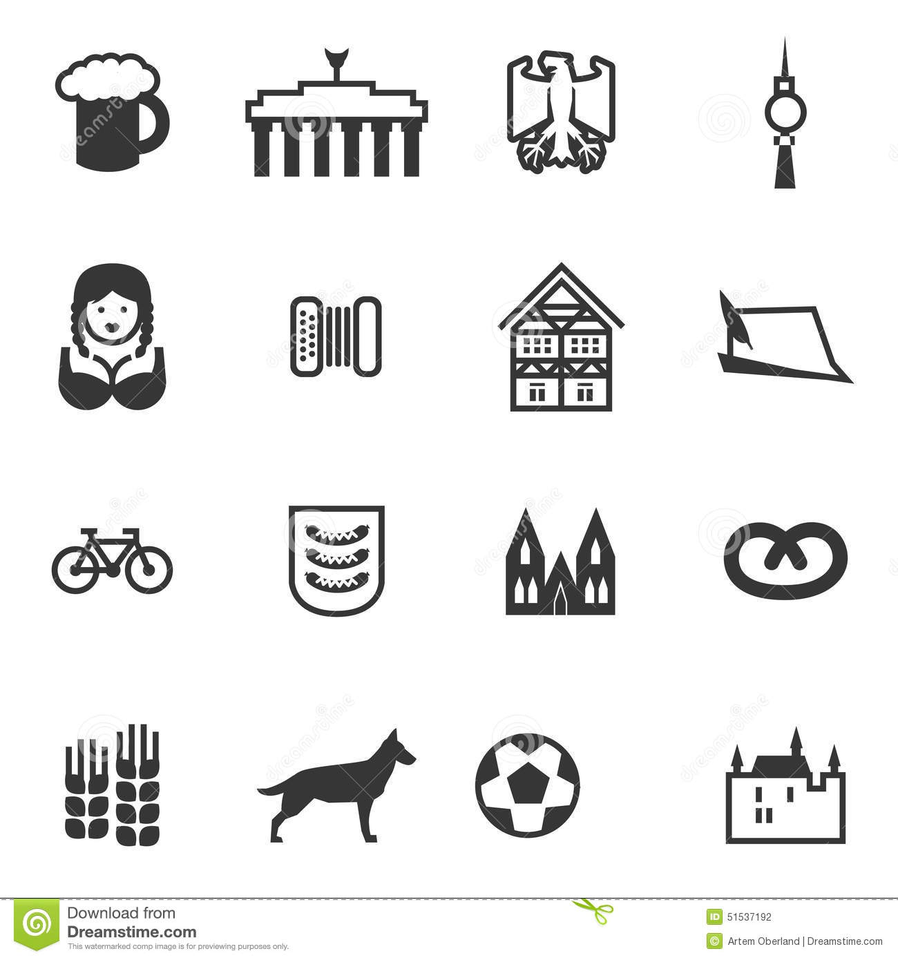 Set Of Icons With Signs Of Germany And Berlin Stock Vector