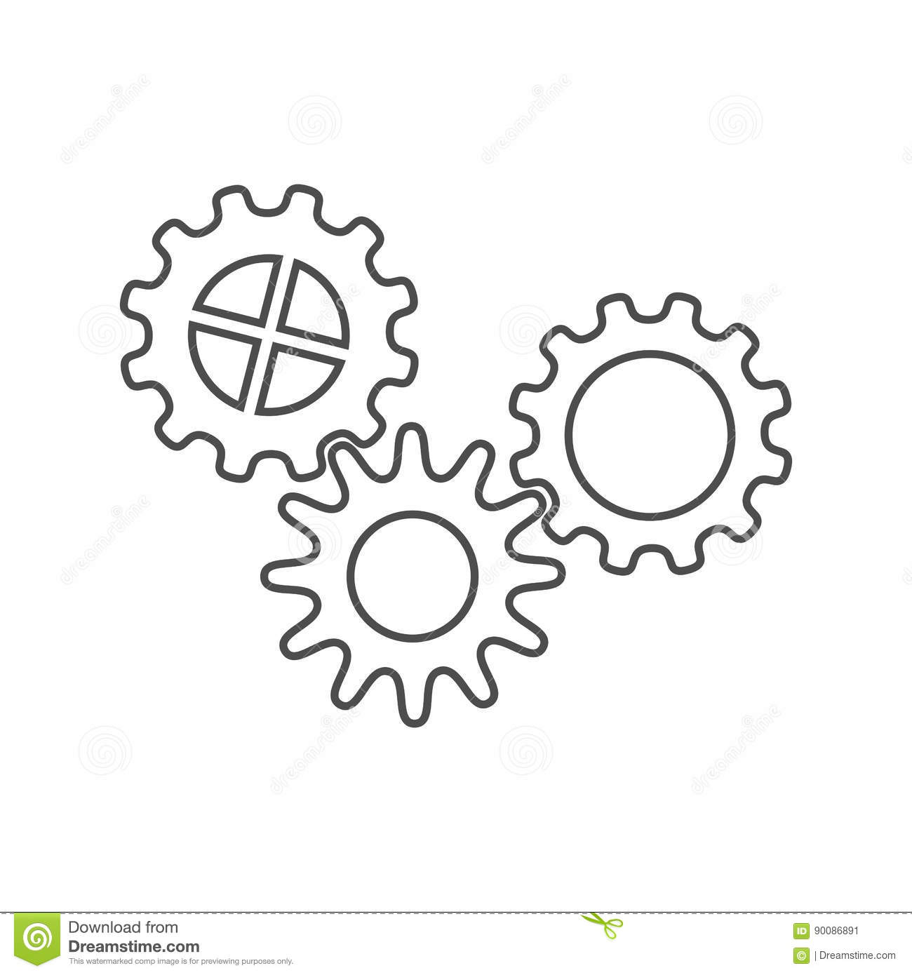 Set Gears Clock Mechanism Isolated On White Royalty Free