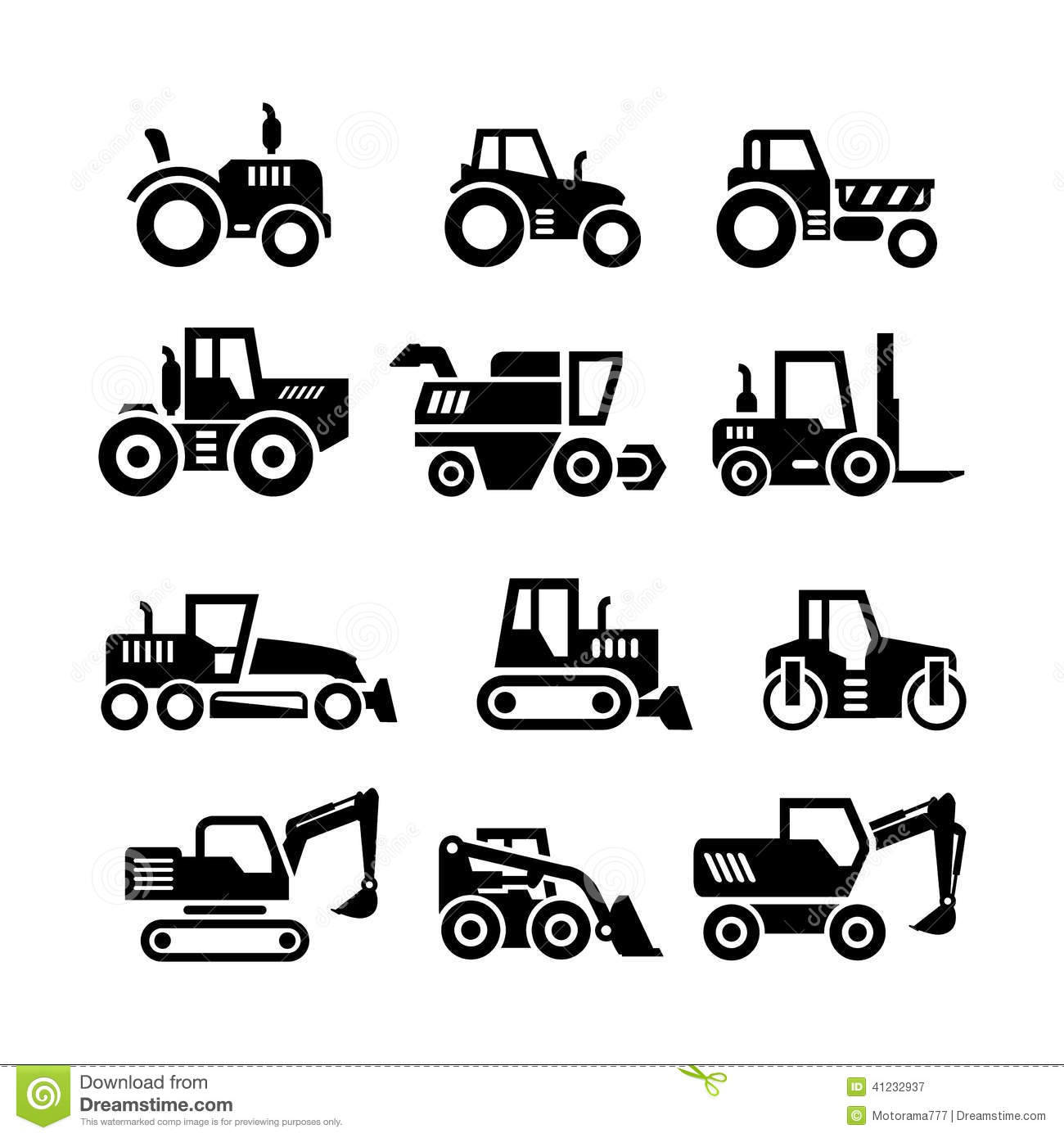 Set Icons Of Tractors Farm And Buildings Machines Stock