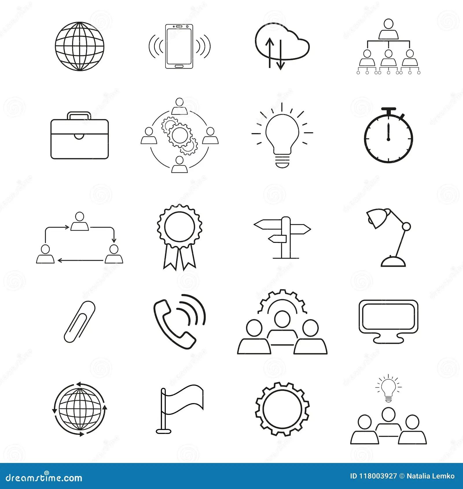 Set Information Technology Icons Stock Vector Illustration