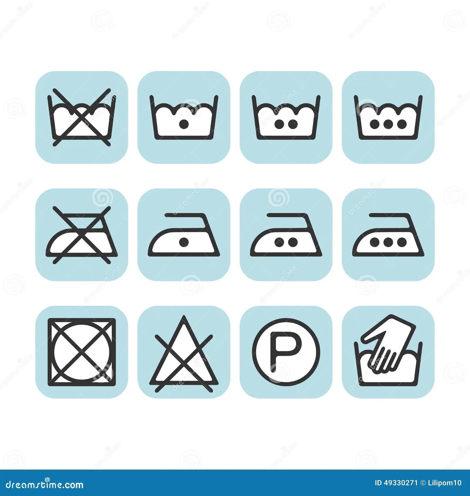 Set Of Instruction Laundry Icons Care Icons Washing
