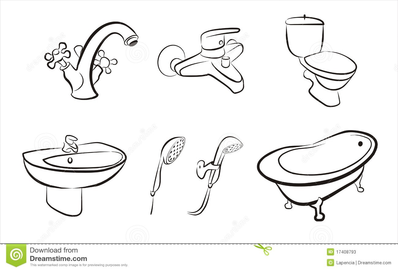 Set Of Isolated Bathroom Devices Taps Shower Stock Photos