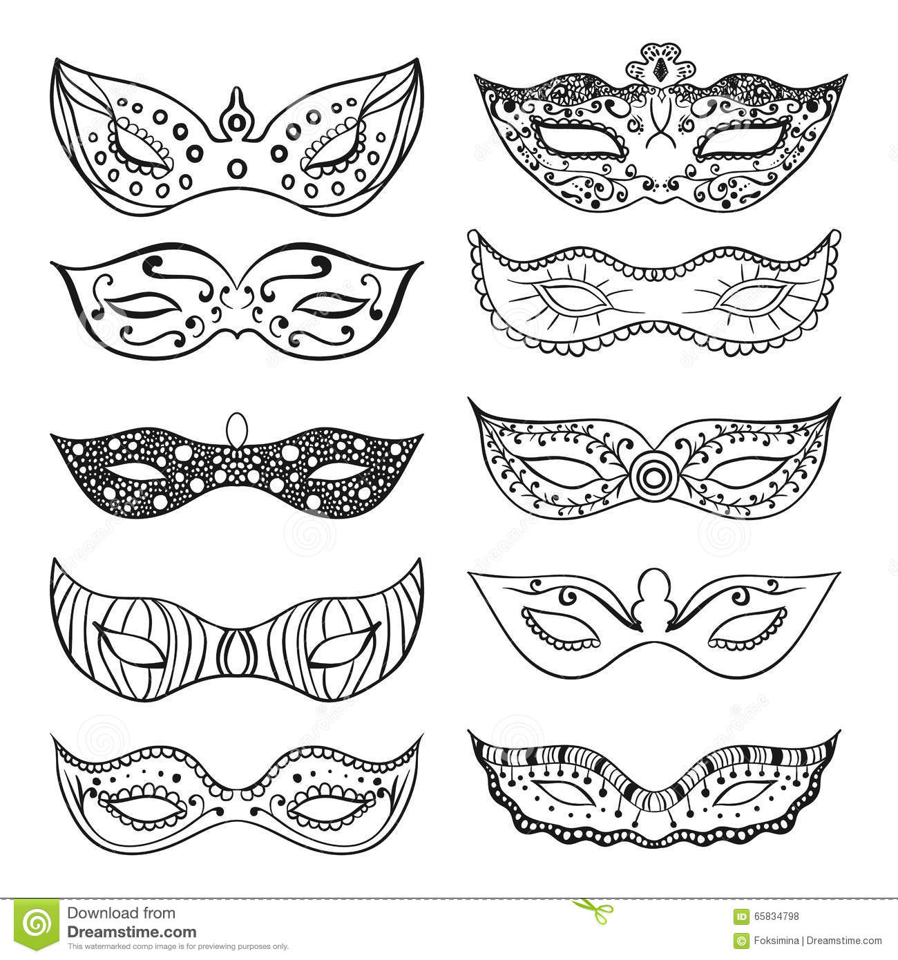 Set Of Isolated Festive Black Hand Drawn Mask Silhouette