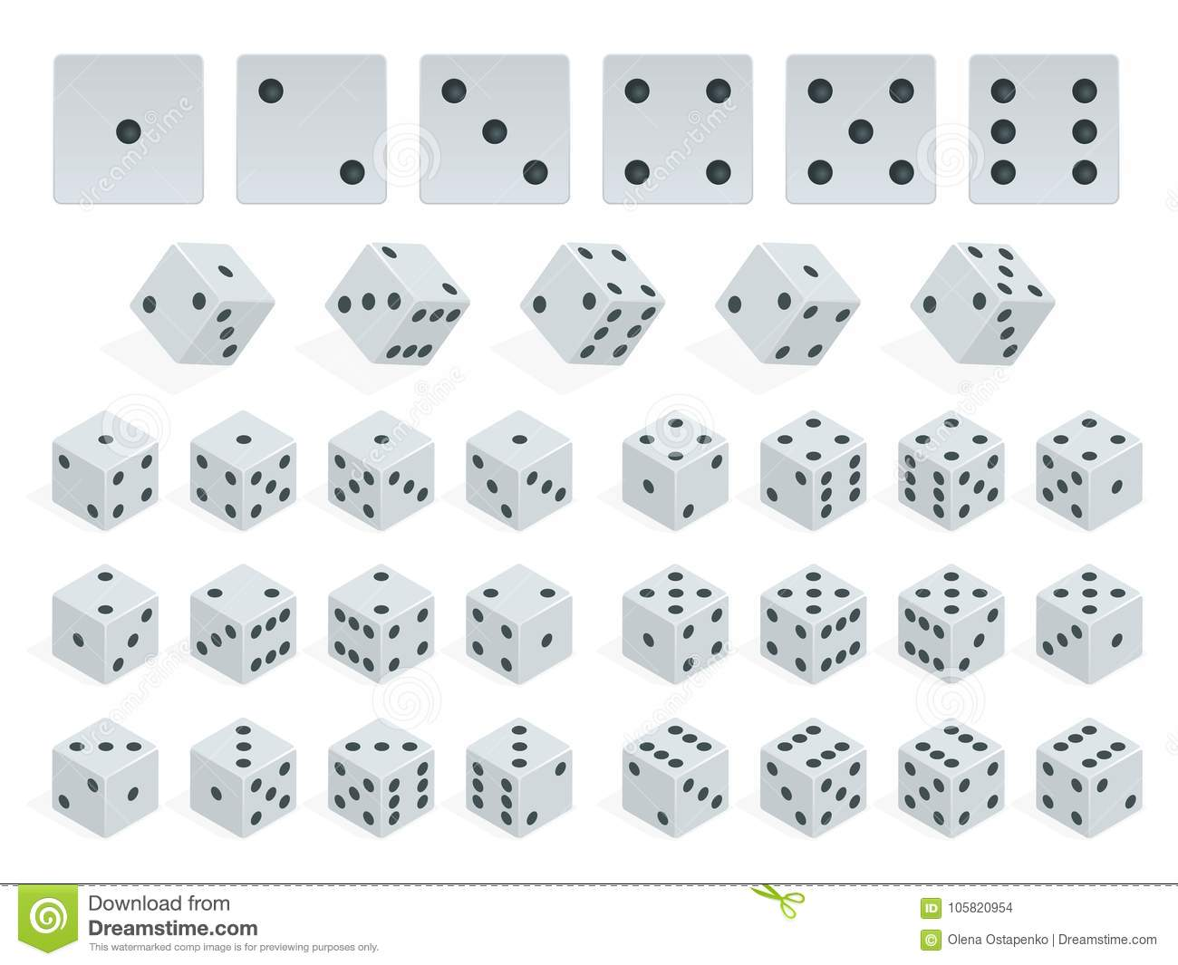 Set Of Isometric Dice Combination White Cubes