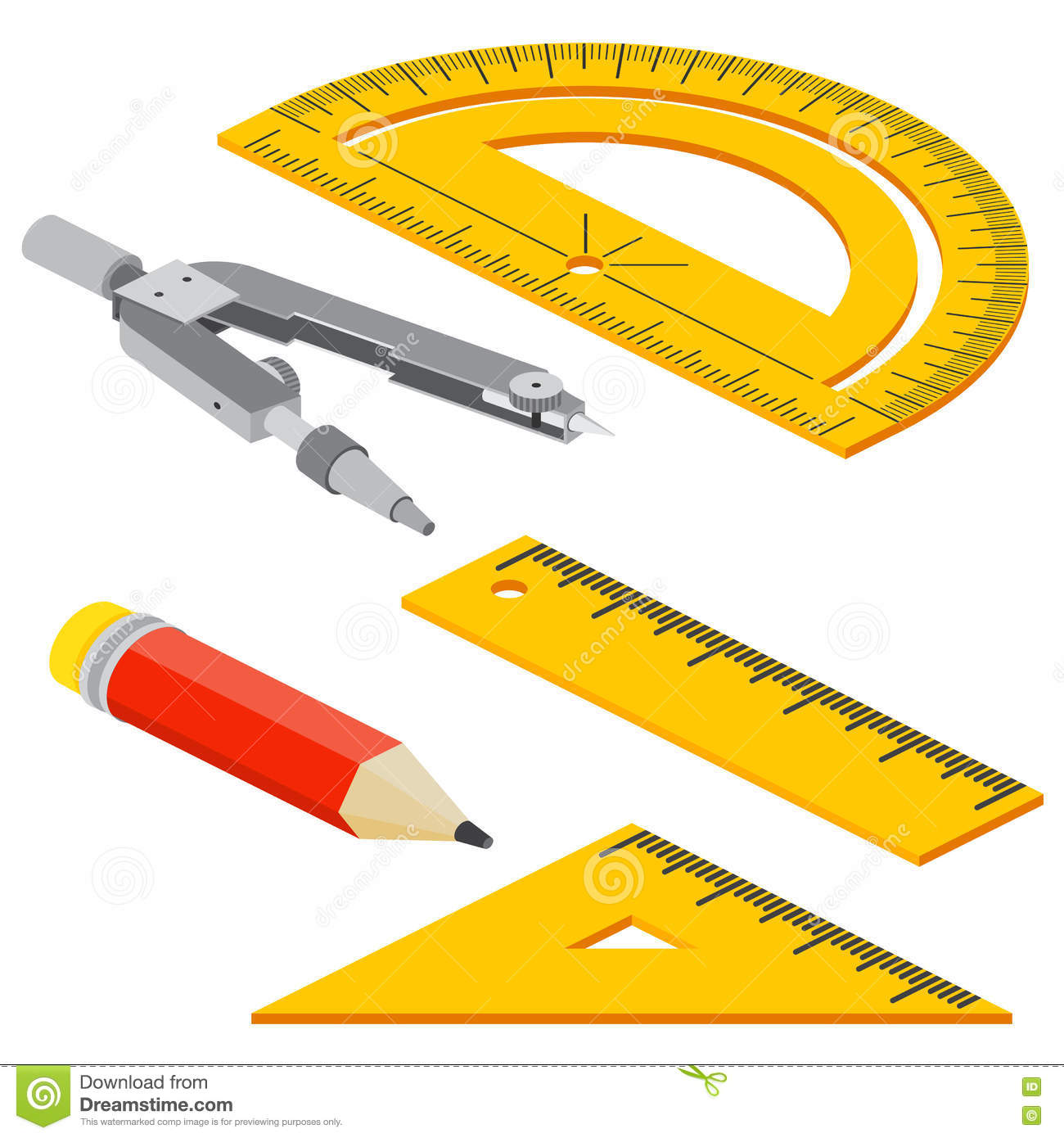Set Of Isometric Measuring Tools Rulers Triangles