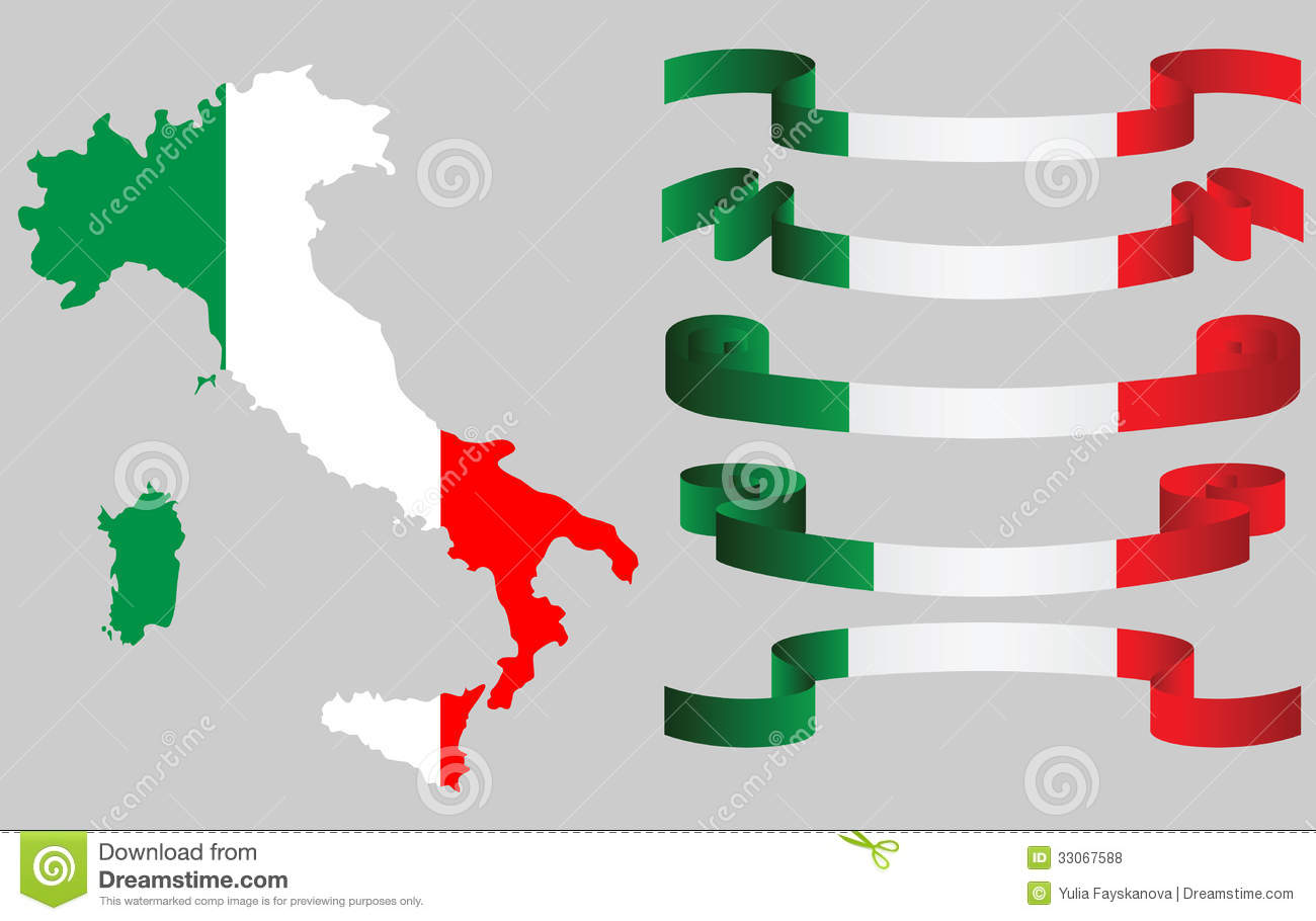 italian flag colors italian map in flag colors