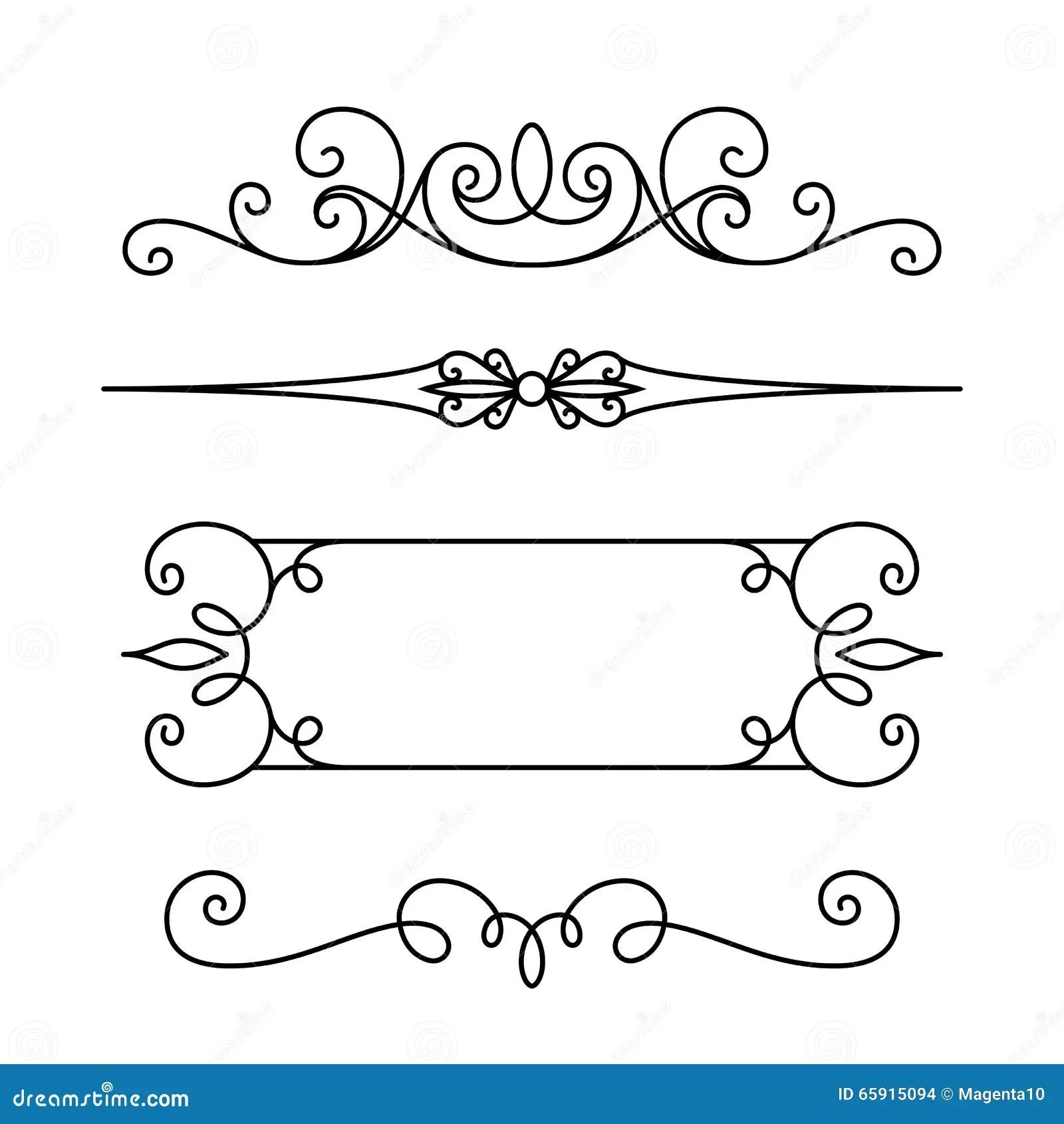 Set Kaligraficzne Winiety I Zawijasy Ilustracja Wektor
