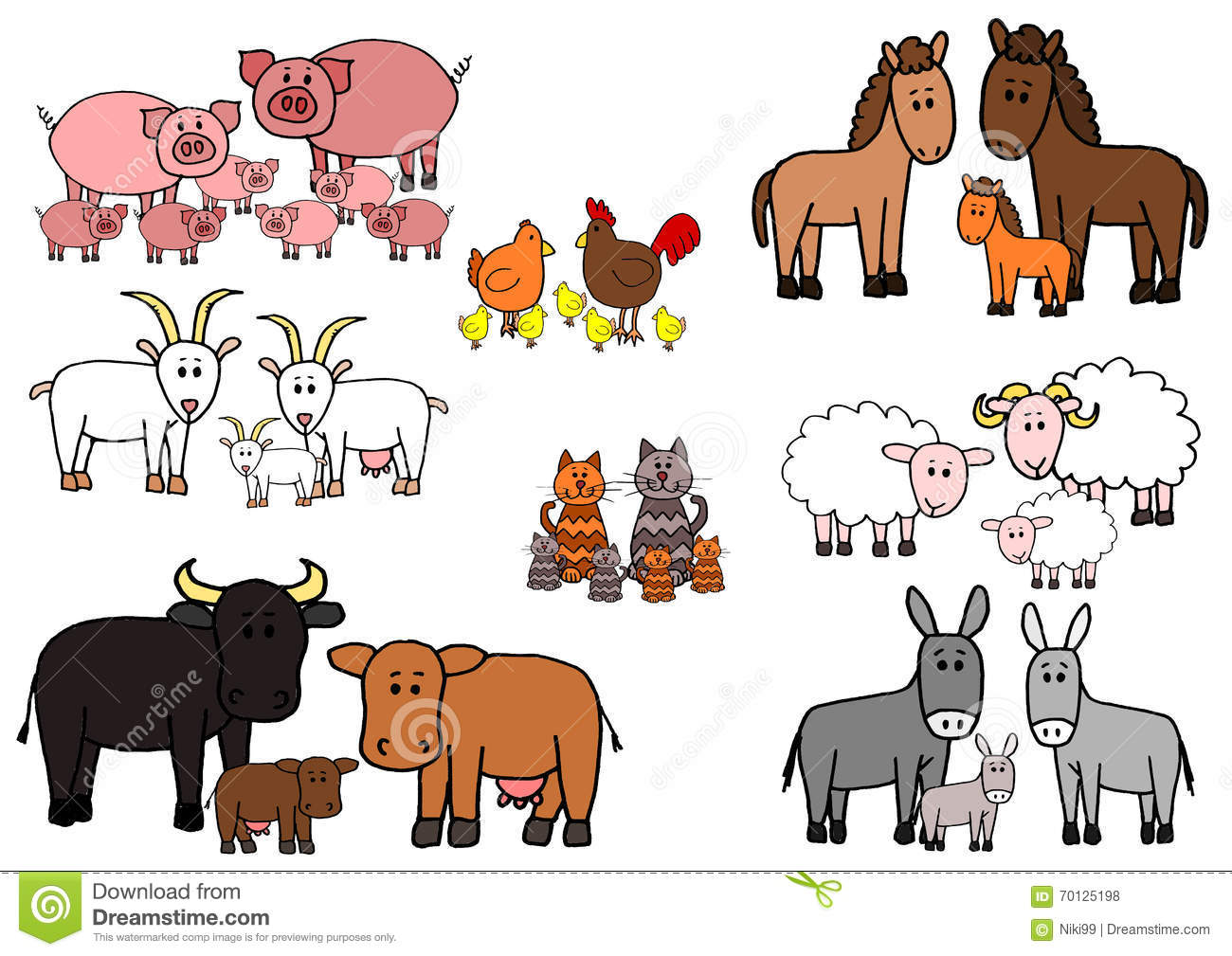 Set Of Kid Sketch Farm Animals Cartoon Stock Vector
