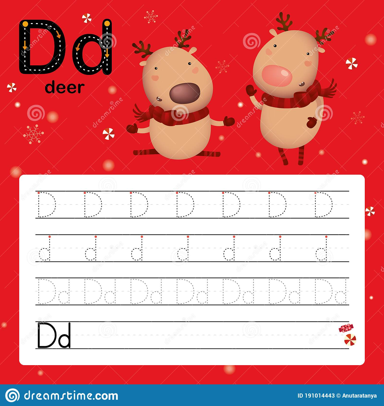 D Deer Alphabet Tracing Worksheet For Preschool And