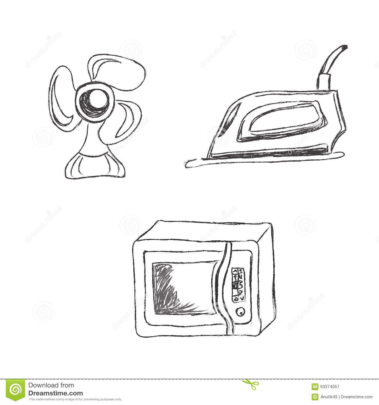 Set Kitchen Appliances Sketch Vector Illustration