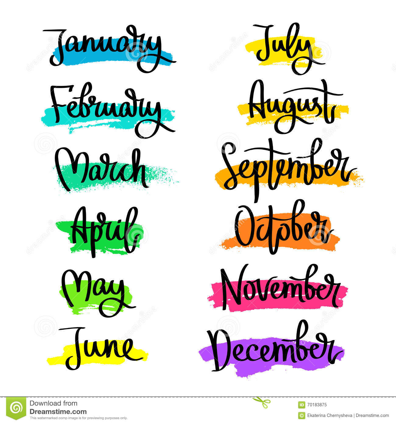 Set Of Labels Of The Months Of The Year Stock Vector
