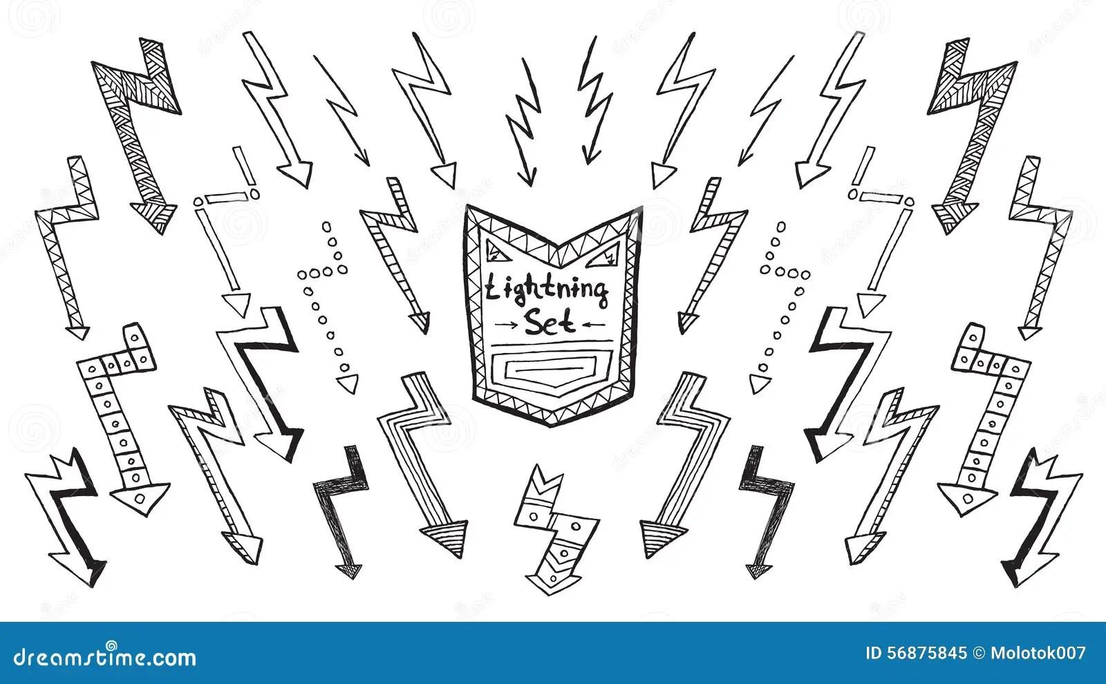 Set Of Lightning Stock Vector