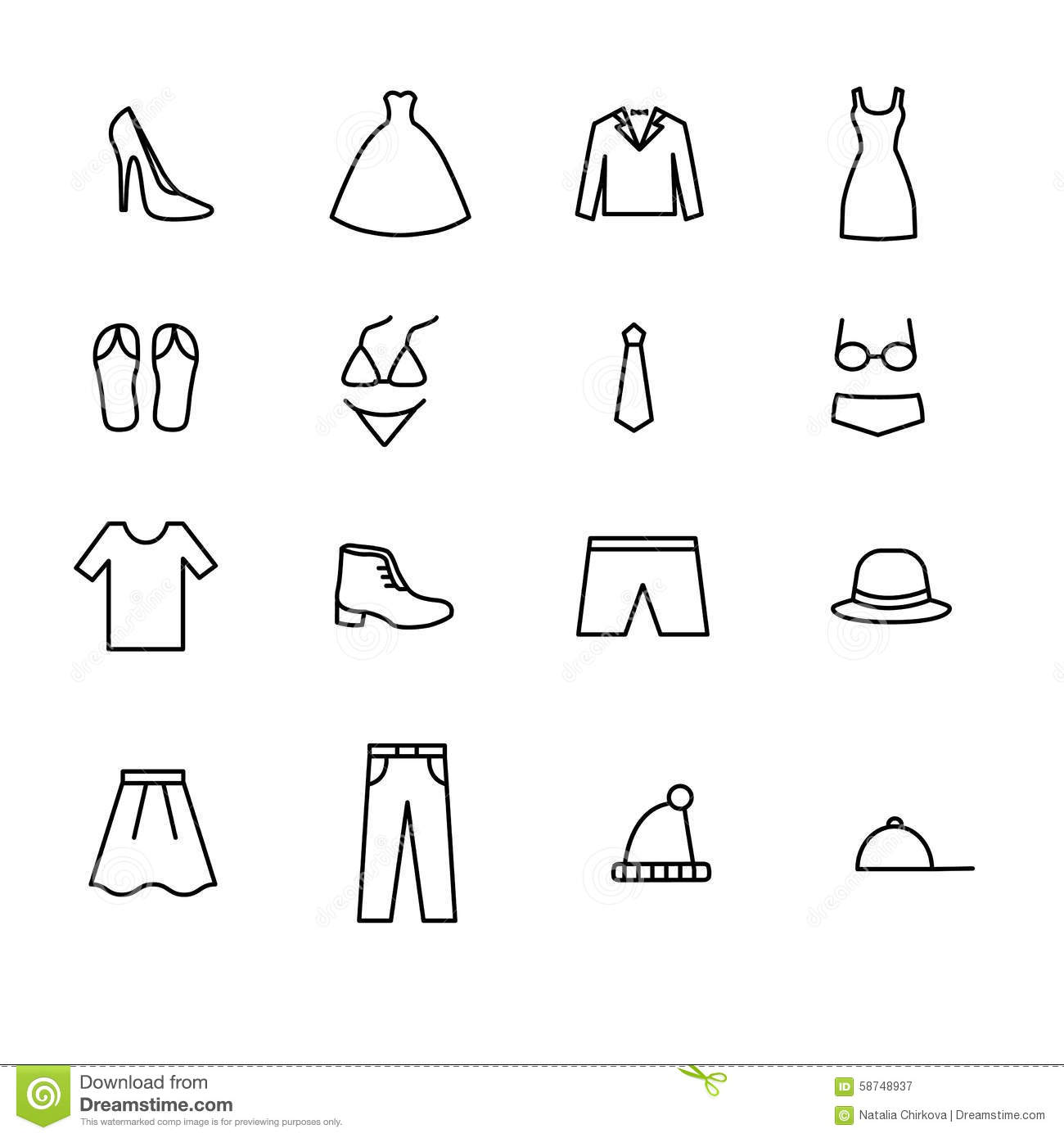 Set Of Line Icons Men And Women Clothing Vector Stock