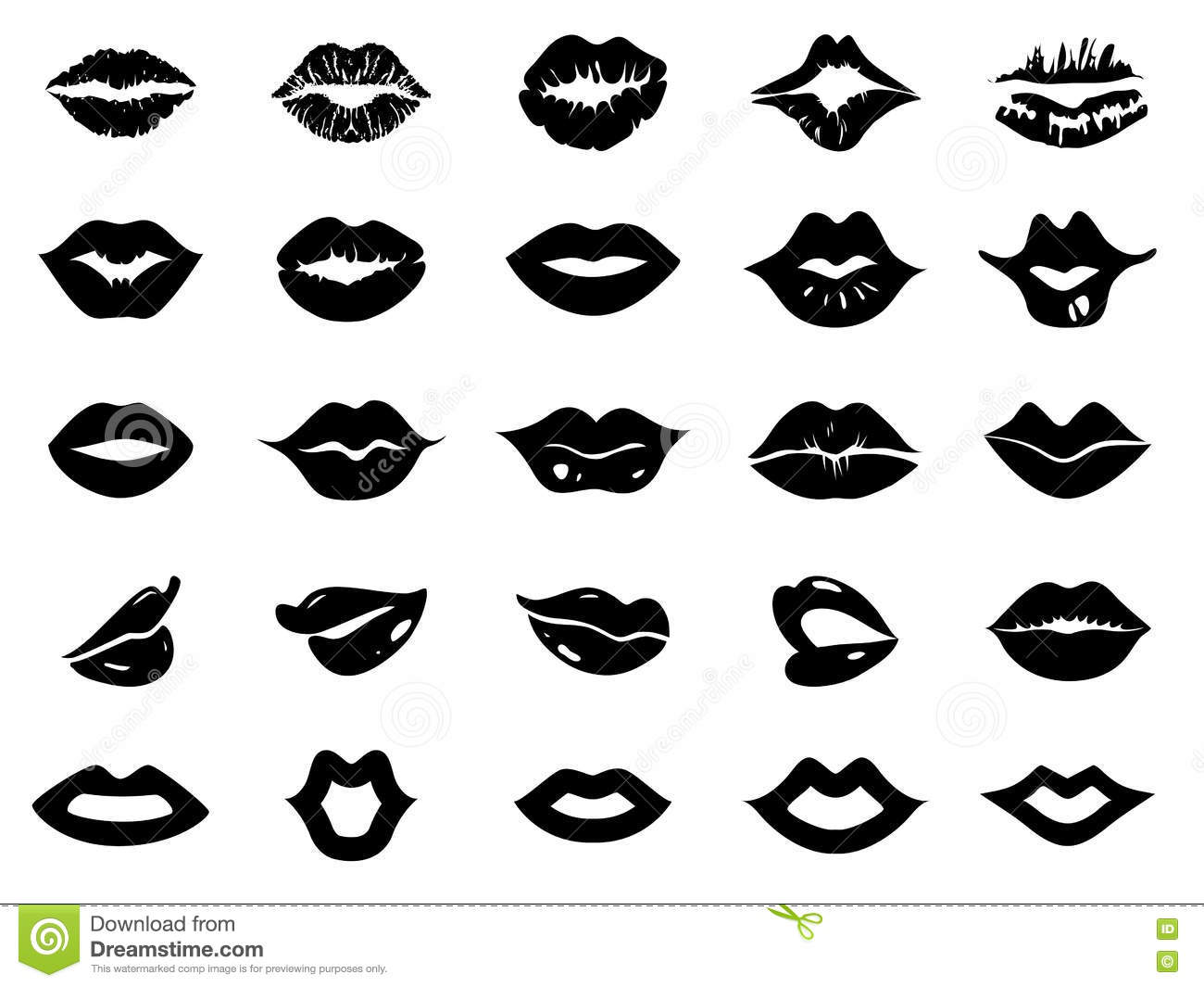 Set Of Lips Icon Stock Vector Illustration Of Cosmetic